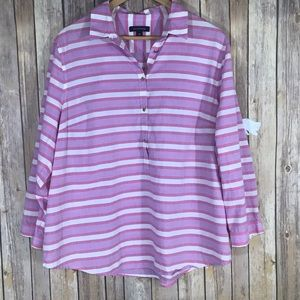 Lands' End striped cotton pullover shirt - size 18